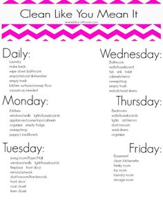 Cleaning Schedule Printable by mandy. Just change Fri from basement to patio, laundry area and organize kids stuff. Cleaning Schedule Printable, Cleaning Checklist, Cleaning Hacks, Cleaning Schedules, Weekly Cleaning, Cleaning Calendar, Deep Cleaning, Diy Cleaning Products, Cleaning Solutions