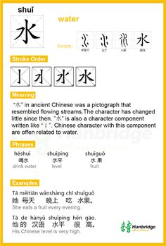 """Chinese character """"水"""" Pinyin(shuĭ) meaning: water                                                                                                                                                                                 More"""