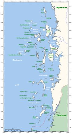 The Mergui Archipelago (also Myeik Archipelago or Myeik Kyunzu; Burmese: မြိတ်ကျွန်းစု) is an archipelago in far southern Myanmar (Burma) and is part of the Tanintharyi Region. It consists of more than 800 islands, varying in size from very small to hundreds of square kilometres, all lying in the Andaman Sea off the western shore of the Malay Peninsula near its landward (northern) end where it joins the rest of Indochina