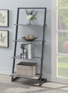 Convenience Concepts stone Slate Four Tier Ladder Bookshelf in Grey Storage, Contemporary & Modern Leaning Bookshelf, Ladder Bookshelf, Library Shelves, Bookcase Shelves, Room Shelves, Shelving, Leaning Ladder, Tall Bookshelves, Shopping