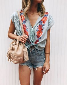 Embroidery tops and jean shorts