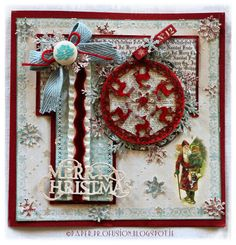 Christmas card. Inkido papers. Wycinanka chipboard bauble.