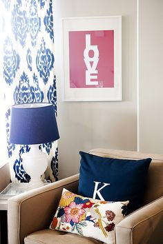 oooh monogram on solid pillow - i forgot about these but it will be perfect for the nursery!