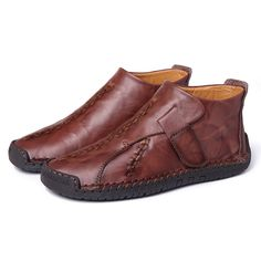Menico Menico Large Size Men Hand Stitching Hook Loop Leather Ankle Boots is fashionable, come to NewChic to buy mens boots online. Discount Mens Shoes, Cheap Mens Shoes, Mens Shoes Sale, Mens Boots Online, Shoes Online, Fashion Hub, Mens Fashion, Most Comfortable Shoes, Beach Shoes