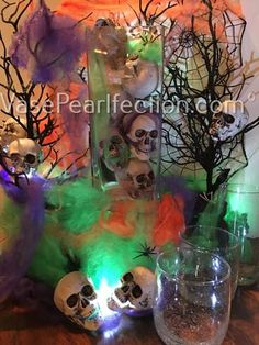 DIY 60 Halloween Floating Jumbo Skulls, Diamonds and Pearls - Jumbo/Assorted Sizes Vase Fillers for Halloween Vase, Creepy Halloween Decorations, Halloween Skull, Halloween Centerpieces, Pearl Centerpiece, Centerpiece Decorations, Vases Decor, Royal Blue Wedding Decorations, Fall Home Decor