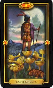 Eight of Cups from The Gilded Tarot by Ciro Marchetti Eight Of Cups, Divine Tarot, The Sun Tarot, Free Tarot, Tarot Learning, Angel Cards, Zodiac Art, Art Series, Oracle Cards