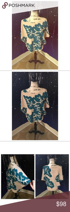 🐠Teal Coral Janine Top🐠 Karen Zambos Teal Coral Janine Top size small. Loose fitting top with bat wing sleeves. Made in the US. Karen Zambos Tops