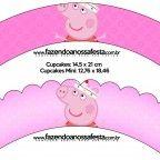 Lindo kit digital com vários convites, moldes e caixinhas para você usar na sua festa com o Tema Peppa Pig Bailarina!