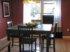 """Annie Sloan Chalk Paint in """"Graphite"""" on old dining room set:   2 coats of Graphite and 1 coat of clear wax. I used a soft 'lint free' cloth to apply the clear wax. I went thin on application and made sure to work it in well. The table top got 3 coats of wax and the rest ended up with 2 coats."""