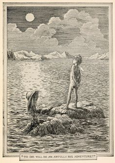 """Francis Donkin Bedford ~ """"To Die Will Be An Awfully Big Adventure?"""" ~ Peter and Wendy by J. Barrie ~ 1911 ~ via More F D Bedford at Art of Narrative. Peter Pan Book, Peter Pan Art, Lost Boys Peter Pan, Peter Pans, Peter Pan Fanfiction, J M Barrie, Peter Pan Neverland, Peter And The Starcatcher, Peter Pan Quotes"""