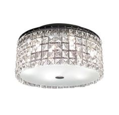 Bazz Lighting PL3413CC Glam Series Three-Light Flush Mount Ceiling Fixture, Finished in Chrome with Glass Beads Image