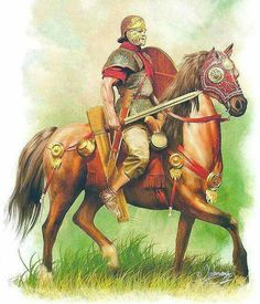 An auxiliary cavalryman-  The Romans uses small cavalry unity's to support the legion on foot.  Cavalry like this would be used for screening the Legion on the march, scouting ahead of the main force, as well as such ring their flanks and the pursuits of a fleeing enemy force . The rider has a longer sword, called a spatha, and no stirrups.