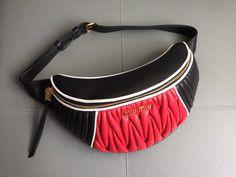 Miu Miu Matelasse Leather Miu Rider Belt Bag -Size  cm -Two-tone nappa leather  belt bag with 3 different types of matelasse . 9b84f4a112d9a