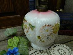 Antique 19th Century Victorian Milk Glass Hurricane Lamp Base by allthatsvintage56 on Etsy