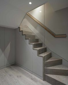 Ideas For Stairs Glass Wall Banisters Basement Staircase, House Stairs, Staircase Design, Staircase Ideas, Stair Design, Spiral Staircase, Staircases, Glass Stairs, Glass Walls