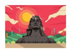 Here you see my take on the Adiyogi Shiva statue in Coimbatore, Tamil Nadu and the giant Tian Tan Buddha statue on Lantau Island, Hong Kong. Shiva Art, Ganesha Art, Hindu Art, Lord Shiva Painting, Krishna Painting, Indian Illustration, Graphic Design Illustration, Lord Shiva Sketch, Shiva Linga