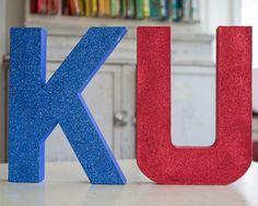 Giant Glitter letters for Rock Chalk Jayhawks!