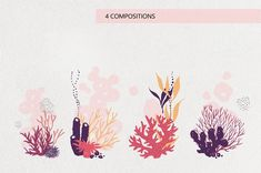 A collection of hand drawn totally editable reef corals and seaweeds that you can easily use for branding projects and stationery, wallpaper, fabric prints, Coral Reef Drawing, Coral Reef Art, Coral Reefs, Coral Tattoo, Coral Design, Watercolor Fish, Colorful Fish, Tropical Fish, Fish Art