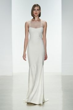 "Amsale Spring 2015 ""May"" gown. Heavy crepe slim fit to flare gown with #illusion neckline and covered buttons to waist. #amsale #bridal #nitsas"