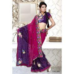 Magenta and Purple Faux Georgette Designer saree
