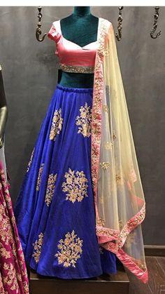 Ghagra Choli, Sharara, Indian Attire, Indian Wear, Blue Lengha, Half Saree, Indian Fashion, Saris, Clothes For Women