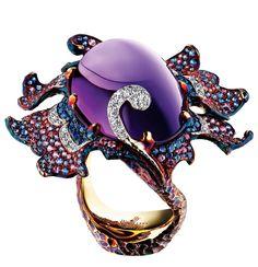 Jewellery Theatre - Delphinium amethyst flowers ring