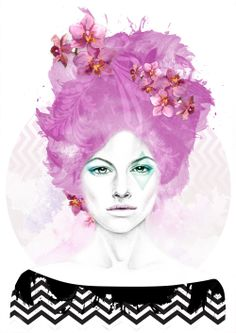 'Radiant Orchid Lizzy' Illustration by Georgie St Clair inspired by #Pantone #coloroftheyear #radiantorchid