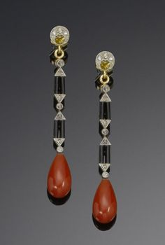 A pair of art deco diamond, enamel and coral pendent earrings, circa 1925