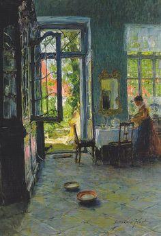 Gotthardt Kuehl Das Gartenzimmer (Garden Room) A gorgeous painting. Paintings I Love, Beautiful Paintings, Monet, Caravaggio, Art For Art Sake, Andy Warhol, Henri Matisse, Oeuvre D'art, Painting & Drawing