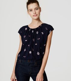 Primary Image of Floral Shirred Tee