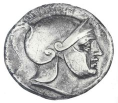 Kalymnos Coin - Silver drachm 3rd c. BC. O. Head of Ares R. Lyre