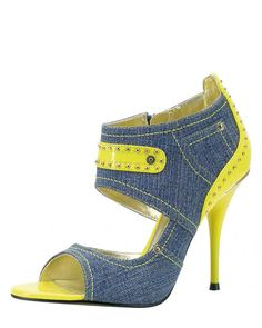 Product Name 1 to 3 Open Toe Studded Denim Heels at Modnique.com