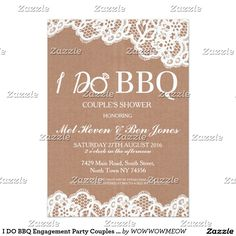 I DO BBQ Engagement Party Couples Shower Invite
