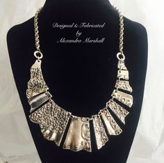 """""""Fragments Collection"""" This upcycled Antique silver statement necklace by Alexandra Marshall has an elegant drape, and adjusts from 18"""" - 21"""" long. #N2232. $59. To order double click photo."""