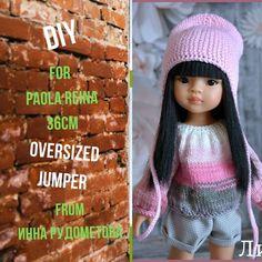 Crochet Doll Dress, Crochet Doll Clothes, Crochet Doll Pattern, Doll Clothes Patterns, Clothing Patterns, Crochet Patterns, Crochet Hats, Oversized Jumper, Dolls