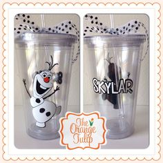 Olaf Frozen Tumbler / Cup with personalization by TheOrangeTulip, $13.00