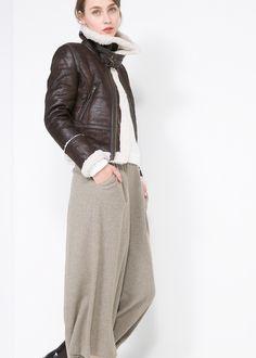 faux shearling-lined jacket. mango.