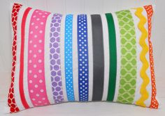 Ribbon Pillow Cover/Sham - 12 x 16 Inches - Rainbows. could do any theme. Rainbow Bedroom, Rainbow Nursery, Diy Ribbon, Ribbon Crafts, Diy Projects To Try, Sewing Projects, Cushion Covers, Pillow Covers, Red Armchair
