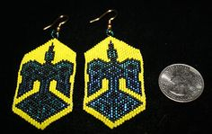 NEW AUTHENTIC NATIVE AMERICAN BEADED EARRINGS VERY TIGHT BEADING