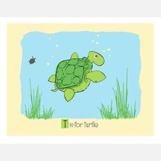 T is for Turtle 14x11 now featured on Fab.