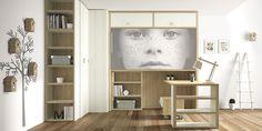 Life Box R2014-07. Cama abatible superior con armario rincón y mesa escritorio.