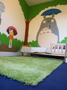 Totoro themed bedroom!!!! <3 This needs to happen!!!!