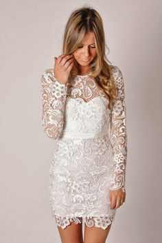 Short Lace Dress with Long Sleeves… perfect for the reception. Maybe add a sash?