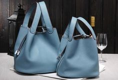 Handmade Leather bucket bag shopper bag blue purple for women leather tote bag