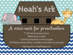 I use this mini-unit when I teach my preschool Sunday School class at church!  Perfect for 3-5 year olds, and could easily be extend it for kinder and first grade!  Included in this packet: *5, 45 minute lesson plans: Noah Builds an Ark, Animals Get on the Ark, The Flood, The Raven and the Dove, The Rainbow *Games: Ark puzzle (Build an ark like Noah), Animal 2-by-2 Match, Sink or float, Catch a Rainbow....each with handouts and materials *Coloring pages for each lesson *Unit Bible Verse (The…