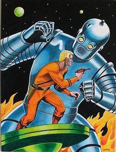I love this kind of old sci-fi pulp fiction cover. Comics Vintage, Vintage Robots, Retro Robot, Retro Kunst, Retro Art, Trippy, Sci Fi Kunst, Science Fiction Kunst, Sci Fi Comics