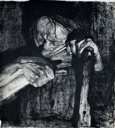 """Sharpening the Scythe from the Peasants' War, etching"" - I don't think this powerful Kathe Kollwitz etching is on the boards. I looked but may have missed. S"
