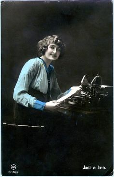 A woman sitting at an Oliver Typewriter, hand-tinted (http://www.sljohnson.net)