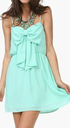 Mint Bow Tank Dress <3