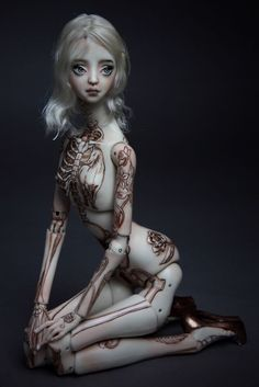 Impressive Engraved And Painted Tattoos On Small One Of A Kind Porcelain Dolls